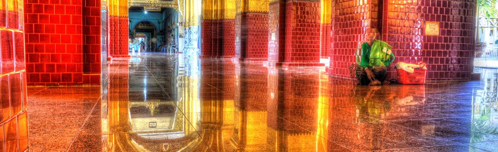 Gorgeous tiled floors and golden architecture in the Mahamuni Buddha Temple given the HDR treatment
